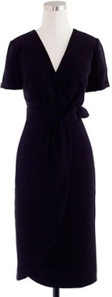 J.crew Wrap Dress in Black - Lyst