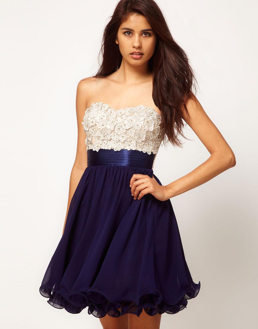 little mistress little mistress floral applique prom dress in blue lyst. Black Bedroom Furniture Sets. Home Design Ideas