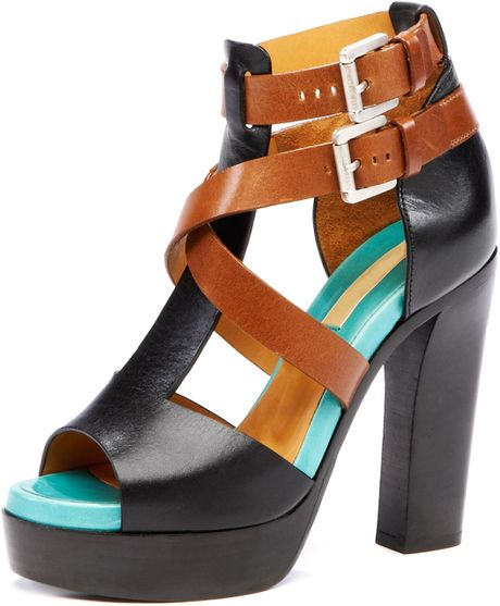 Michael Kors Colorblock Sandal in Brown (black) - Lyst
