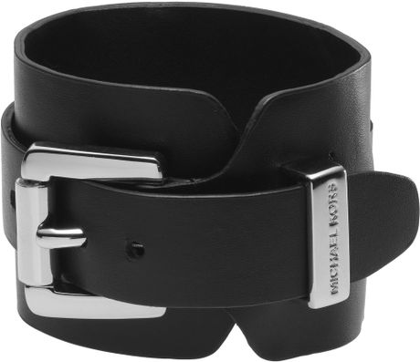Michael Kors Leather Cuff  in Black (null) - Lyst