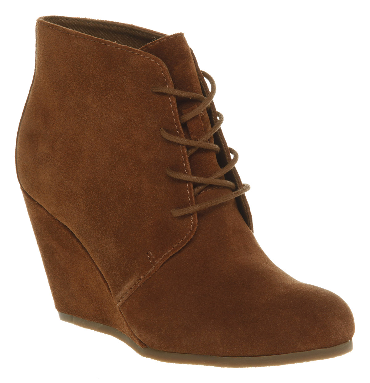 A pair of lace-up wedge booties that stop at the ankle offer plenty of height and comfort without overwhelming the style of your pants and long skirts. Choose a pair in chestnut with a textile upper that adds a little color to your otherwise dark attire or darken up your holiday flair with the help of some black suede wedge lace-up boots with.