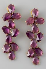 Oscar de la Renta Clustered Crystal Drop Earrings