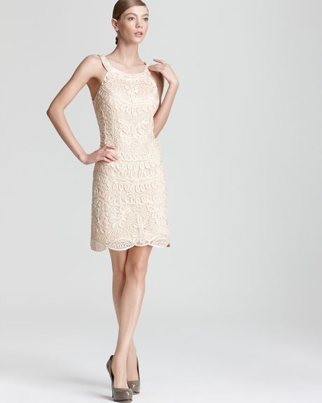 Sue Wong Lace Dress in Beige - Lyst