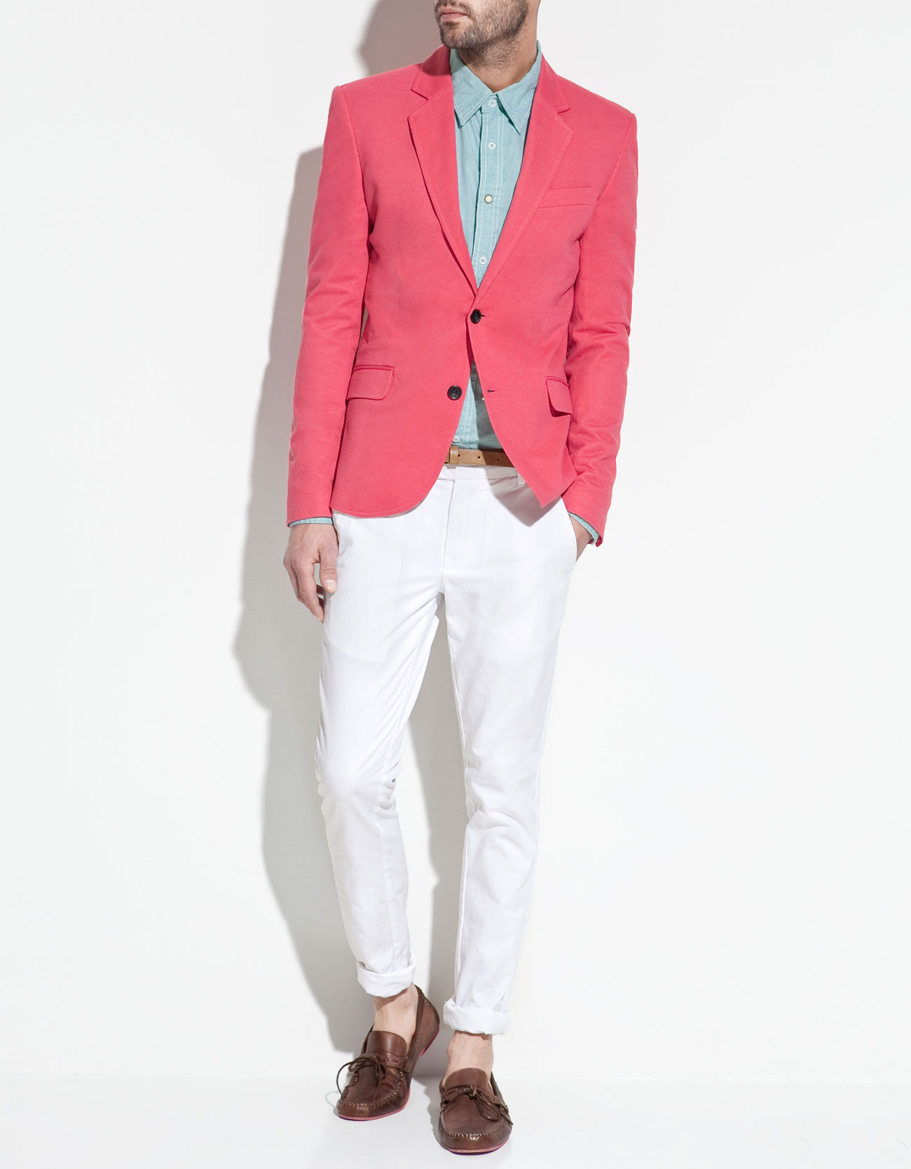 Zara Pique Blazer in Pink for Men | Lyst