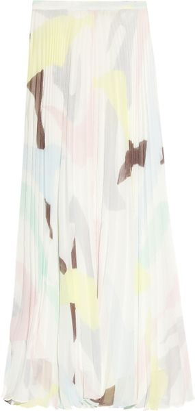 Alice + Olivia Shannon Pleated Georgette Maxi Skirt in Multicolor (multicolored) - Lyst
