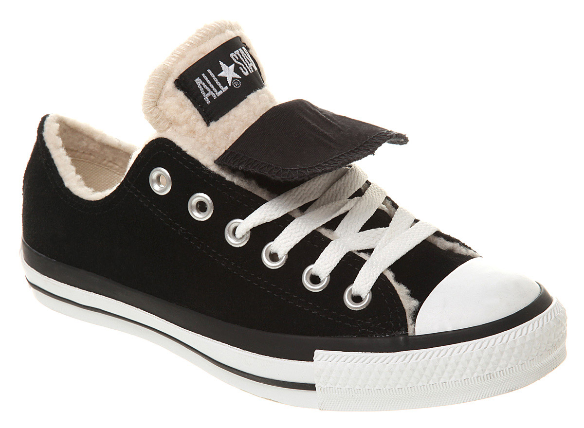 e7685c8d7b5b75 Converse All Star Ox Low Double Tongue Black White Sheepskin ...