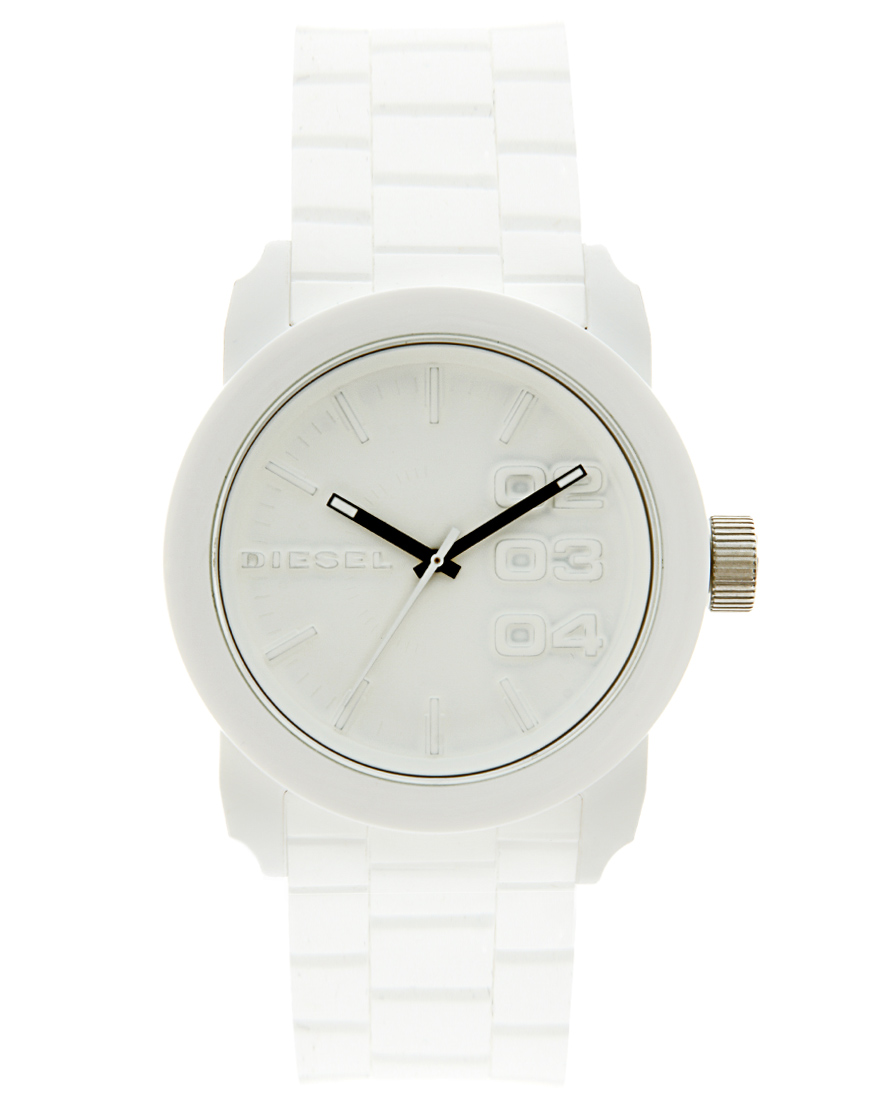 Lyst Diesel Rubber Watch In White For Men
