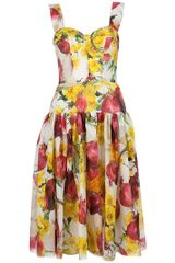 Dolce & Gabbana Bustier Dress in Yellow (white) - Lyst