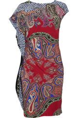 Etro Ruched Printed Crepe Dress - Lyst