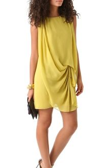 Halston Heritage Sleeveless Drape Front Dress - Lyst