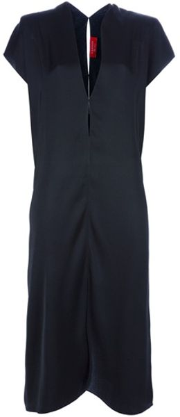 Lanvin Plunge Neck Dress in Black - Lyst