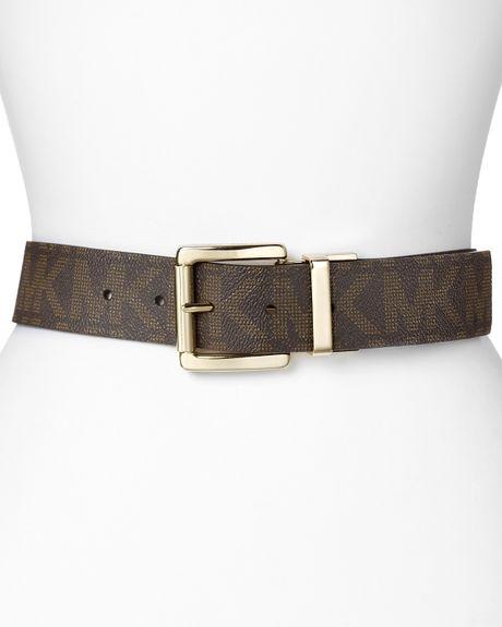 michael kors reversible logo belt in brown chocolate