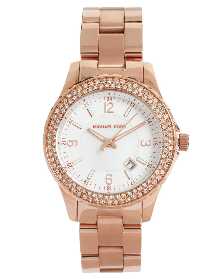 lyst michael kors rose gold bracelet watch in pink. Black Bedroom Furniture Sets. Home Design Ideas
