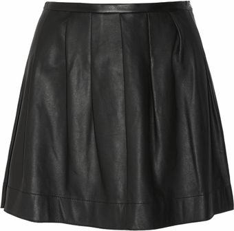 Rebecca Taylor Pleated Leather Mini Skirt - Lyst