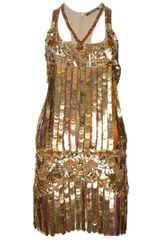 Roberto Cavalli Sequin Dress in Gold - Lyst