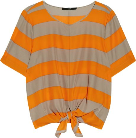Tibi Knottedwaist Striped Crepe Top in Orange - Lyst