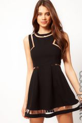 Asos Collection  Skater Dress with Plastic Panels in Black - Lyst