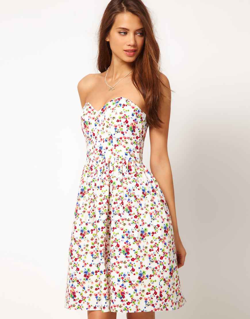 5486dda8add0 ASOS Collection Strapless Dress in Ditsy Print - Lyst