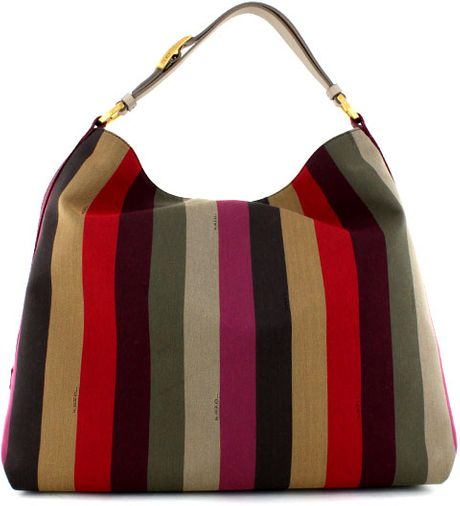 Fendi Pequin Striped Hobo in Multicolor - Lyst