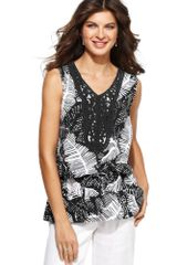 Jones New York Sleeveless Printed Vneck - Lyst