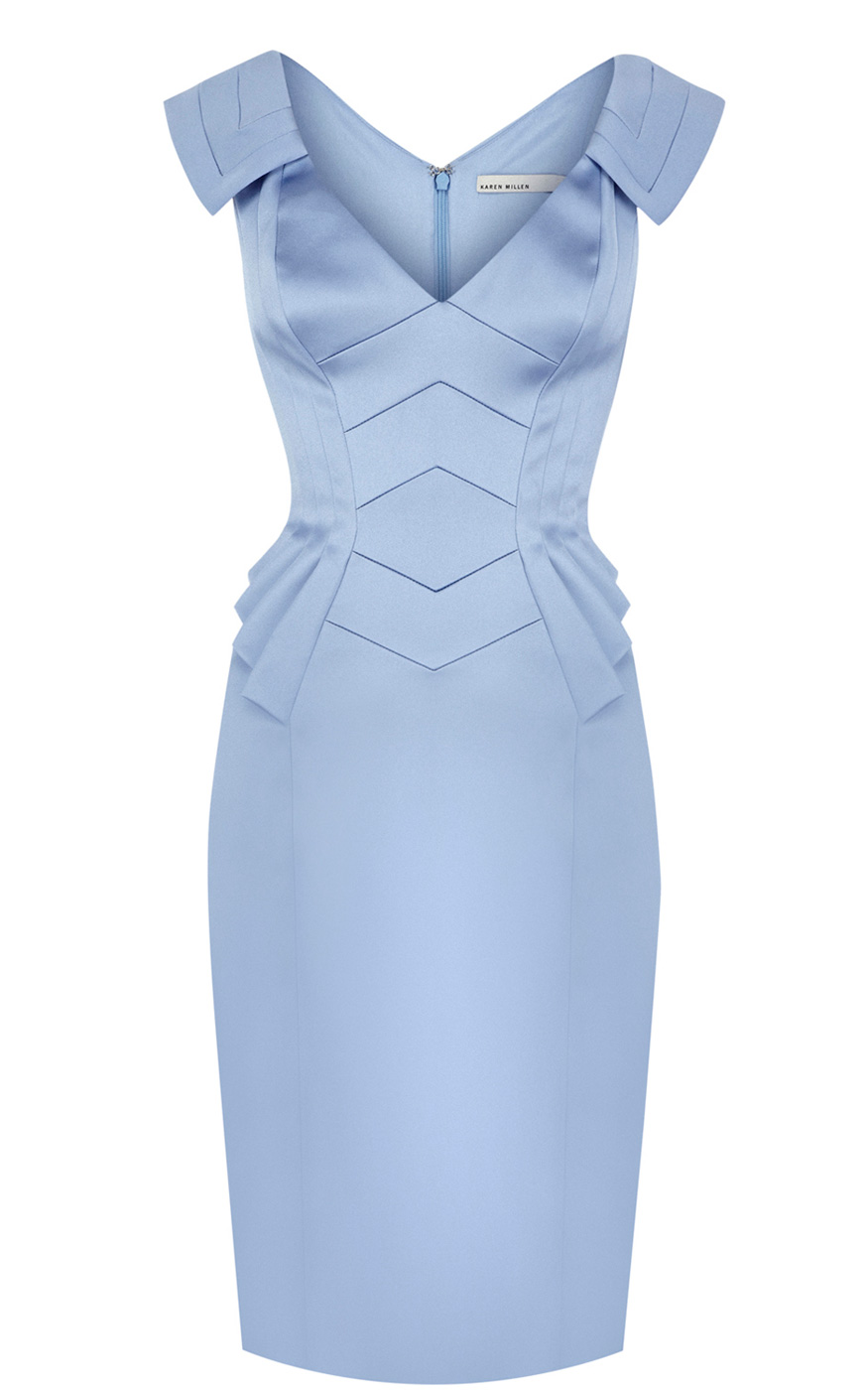 Karen Millen Peplum Dress in Blue - Lyst