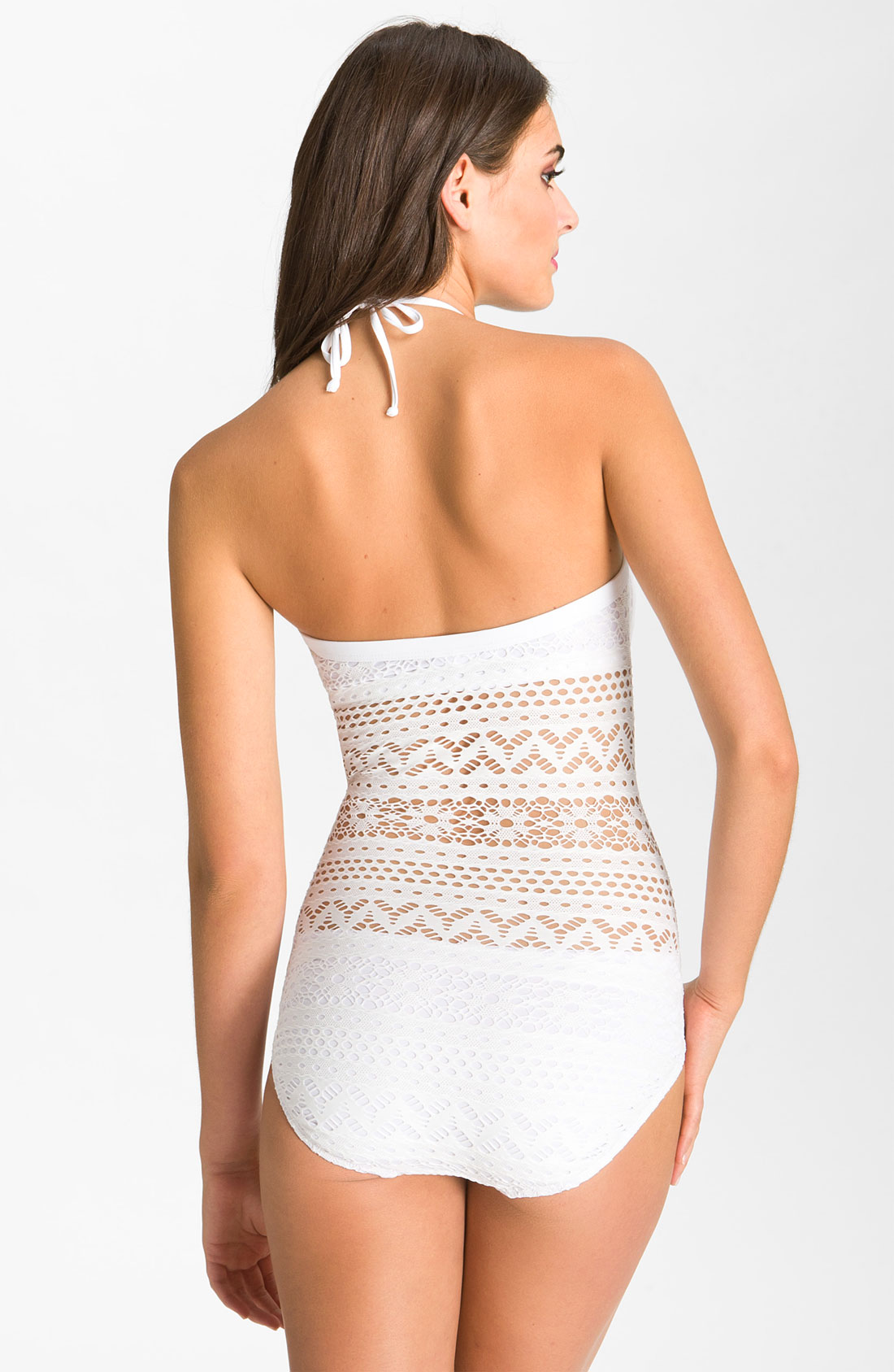 ... piccone Penelope Crochet Overlay One-piece Swimsuit in White Lyst