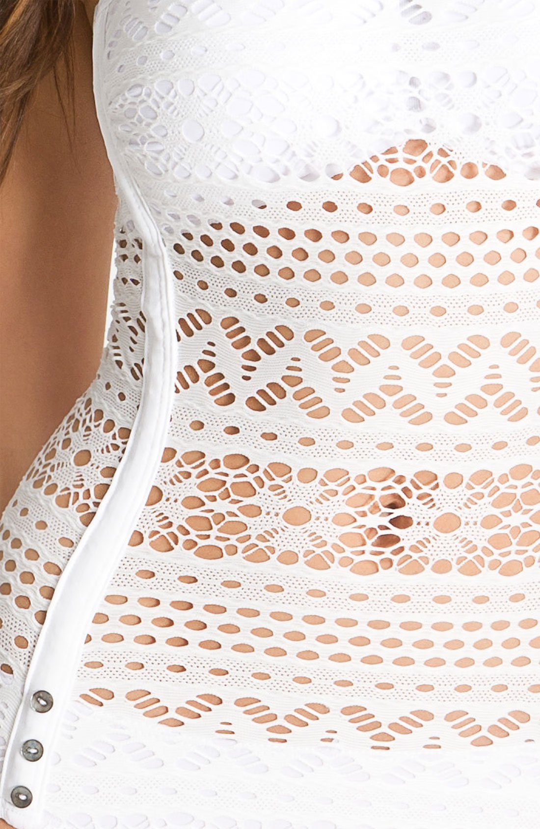 Robin Piccone Penelope Crochet Overlay One Piece Swimsuit