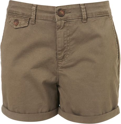 Topshop Khaki Chino Shorts in Green (khaki)