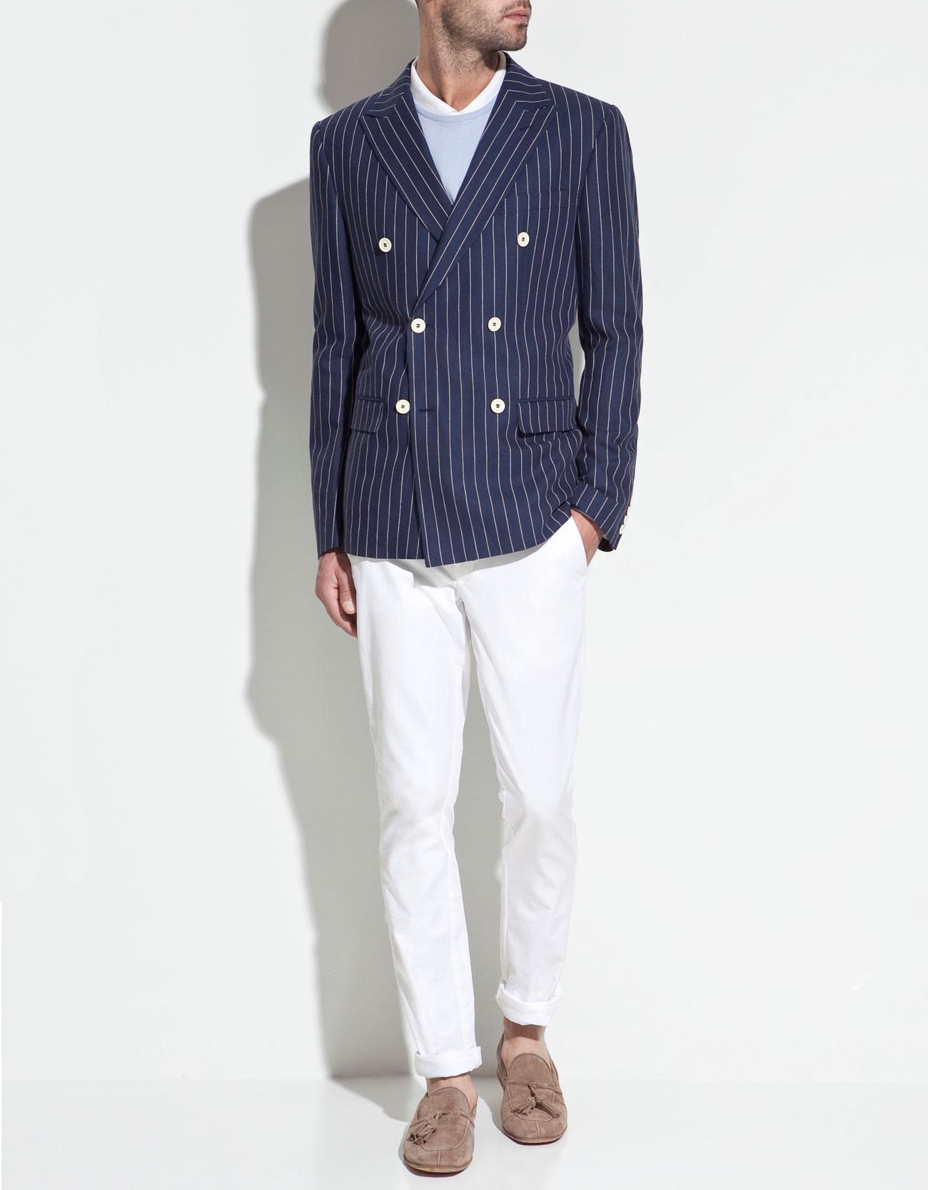 Zara Double Breasted Linen Blazer in Blue for Men   Lyst