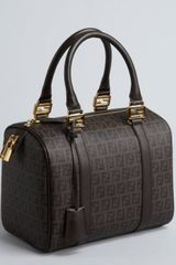 Fendi Brown and Black Zucchino Spalmati Forever Top Handle Bag - Lyst