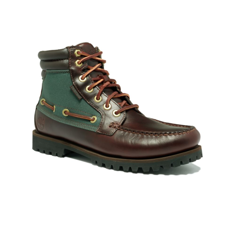 timberland oakwell 7 eye moc toe boots in green for