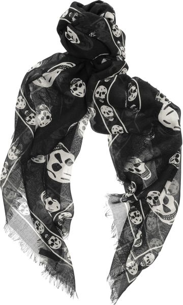 Alexander Mcqueen Skullprint Modal and Cashmereblend Scarf in Black