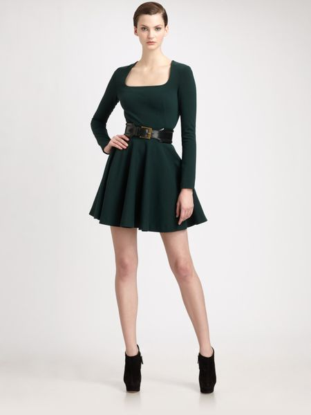 Alexander Mcqueen Stretch Wool Jersey Godet Dress in Green - Lyst