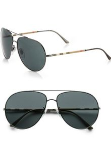 Burberry Metal Aviator Sunglasses - Lyst