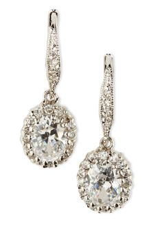 Cz By Kenneth Jay Lane Oval Pave Drop Earrings - Lyst