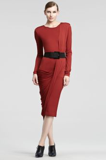 Donna Karan New York Luster Jersey Long Sleeve Dress - Lyst