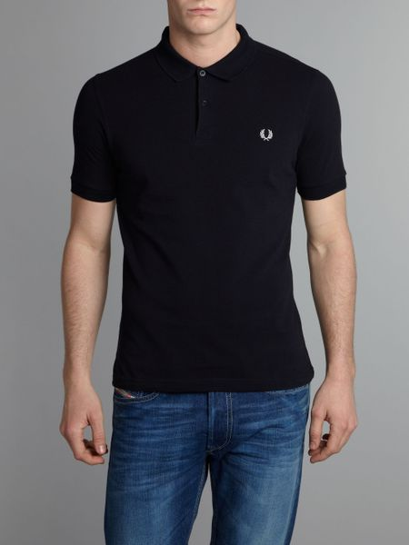 fred perry slim fit pique polo shirt in blue for men navy. Black Bedroom Furniture Sets. Home Design Ideas