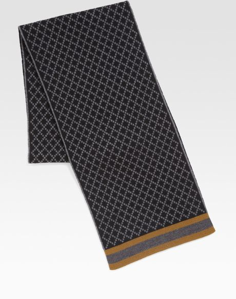 Gucci Diamante Pattern Knit Scarf in Gray for Men black  Lyst Knitting Scarves For Men Patterns