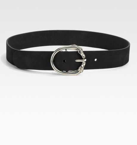 Gucci Horsehead Buckle Leather Belt in Black - Lyst