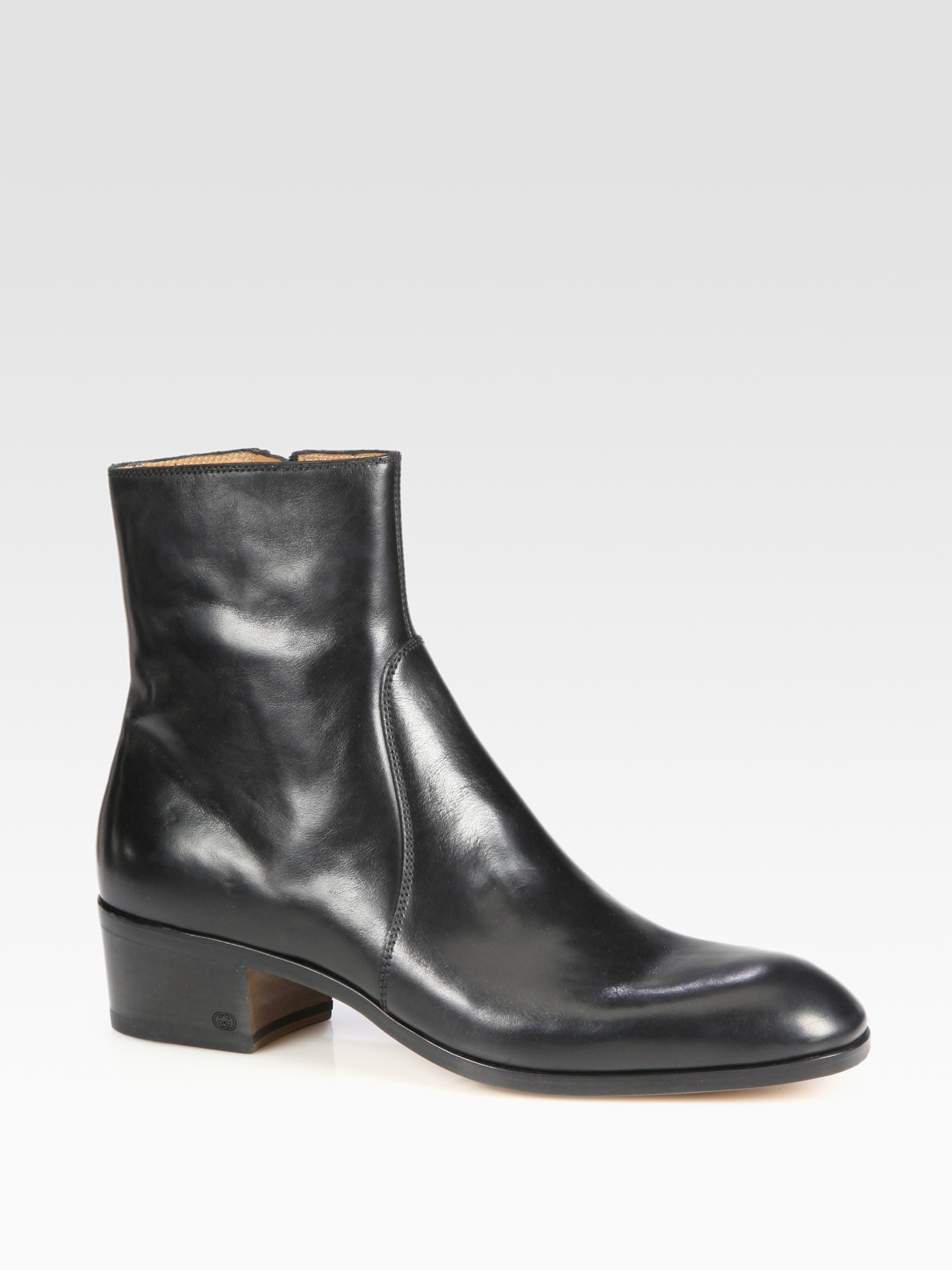 gucci scales cuban heel boot in black for lyst