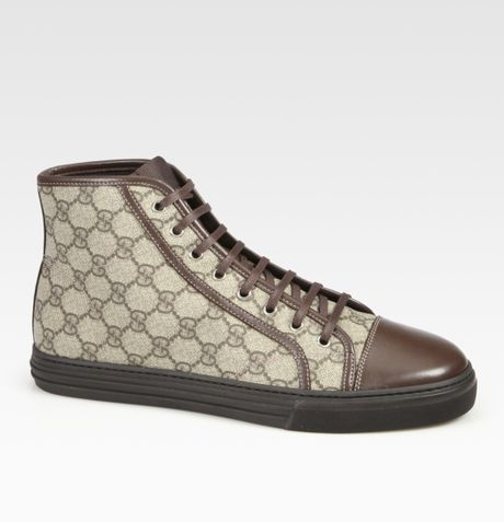 Gucci California Hightop Laceup Sneakers in Beige for Men (cocoa) - Lyst