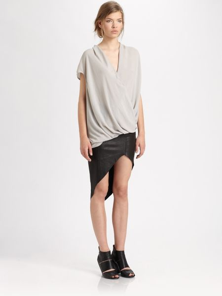 helmut lang petrol asymmetrical leather skirt in black lyst
