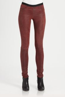Helmut Lang Patina Glossy Leather Leggings - Lyst