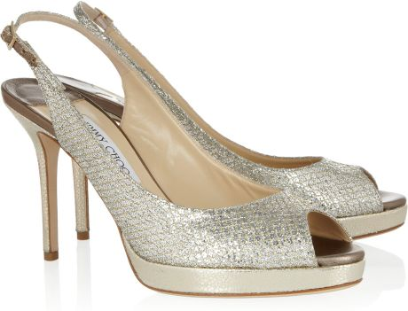 Jimmy Choo Nova Glittered Leather Slingbacks in Gold - Lyst