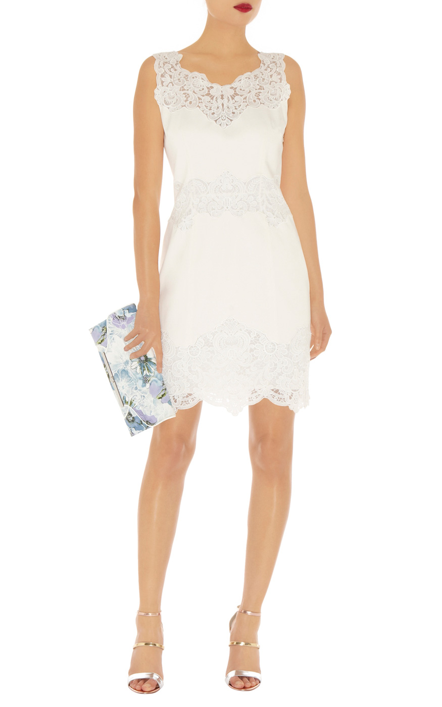 Karen Millen Cotton Lace Panel Dress In White Lyst