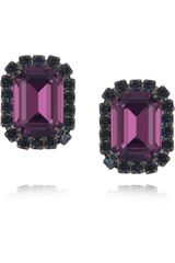 Kenneth Jay Lane Gunmetalplated Swarovski Crystal Clip Earrings - Lyst