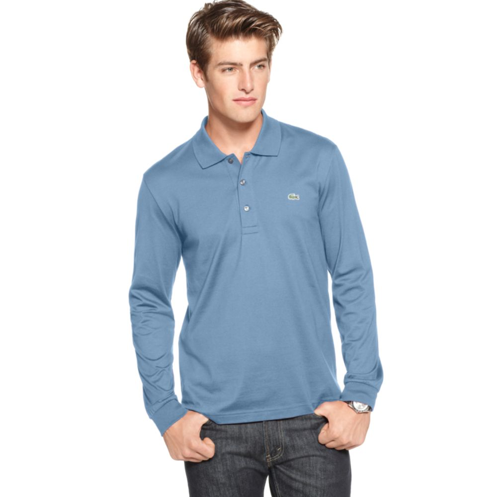 7a44578495c Lacoste Long Sleeve Jersey Polo Shirt in Blue for Men - Lyst