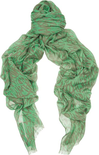 Marc By Marc Jacobs Printed Scarf in Green - Lyst