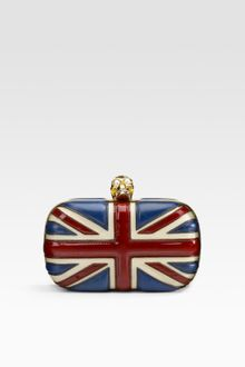 Alexander McQueen Leather Union Jack Skull Clutch - Lyst