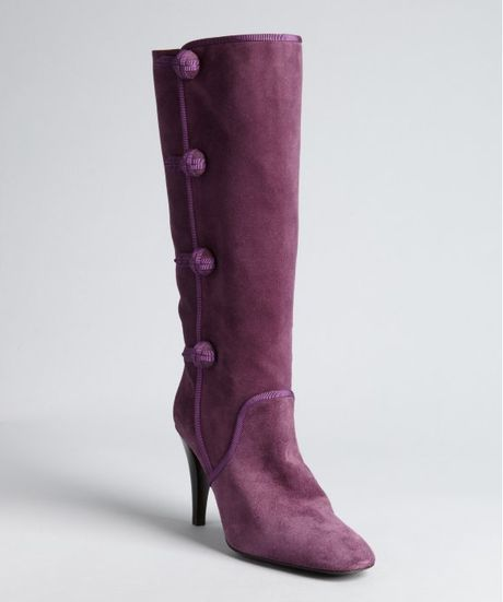 purple suede button detail stacked heel boots in
